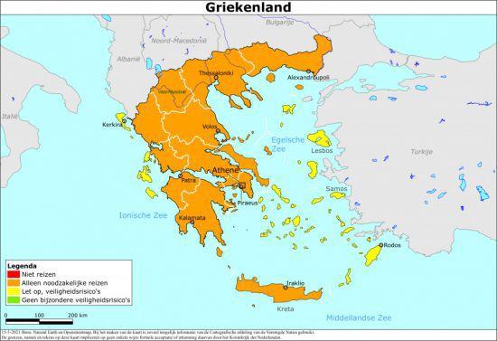 Kaart Reisadvies Griekenland